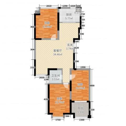 阿尔卡迪亚文承苑3室2厅1卫1厨111.00㎡户型图