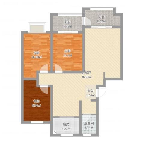 双龙居小区3室2厅1卫1厨107.00㎡户型图
