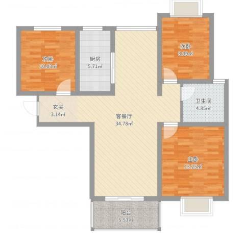 时代茗苑3室2厅1卫1厨104.00㎡户型图