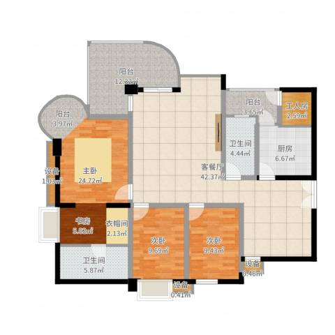 帝景名苑3室2厅2卫1厨155.00㎡户型图