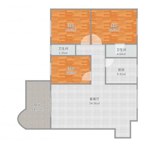 明发国际新城3室2厅2卫1厨168.00㎡户型图