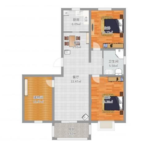 锦城丽景2室1厅1卫1厨119.00㎡户型图