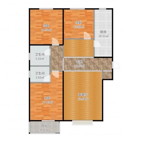 香溪雅地3室2厅2卫1厨136.00㎡户型图