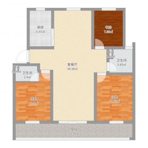 中江国际花苑3室2厅2卫1厨119.00㎡户型图