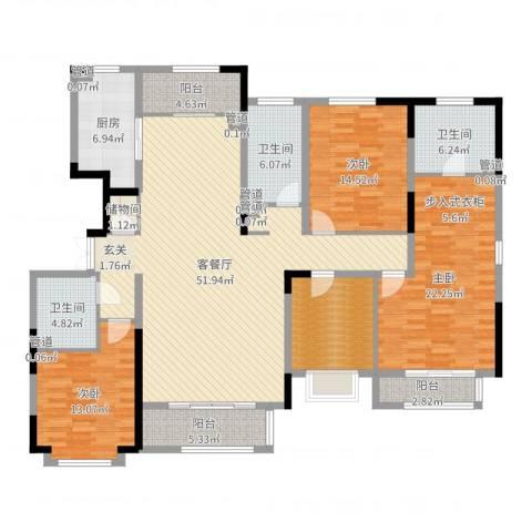 漫山香墅3室2厅3卫1厨186.00㎡户型图