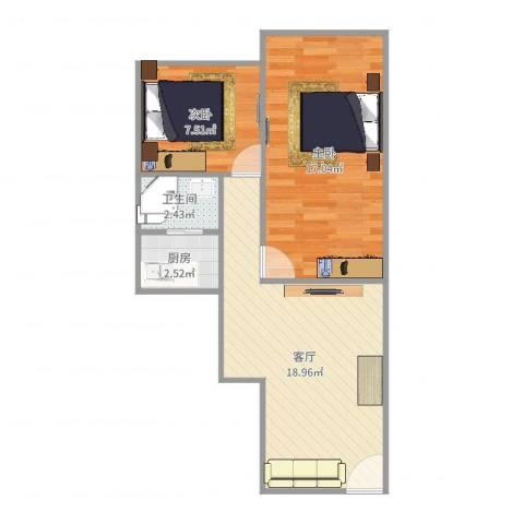 湖滨南路国药宿舍2室1厅1卫1厨61.00㎡户型图