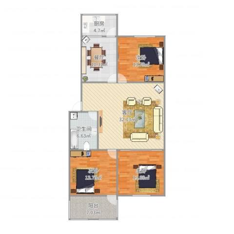 鑫达小区5-2-3013室2厅1卫1厨128.00㎡户型图