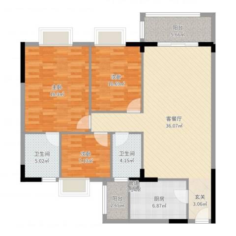 逸湖半岛3室2厅2卫1厨121.00㎡户型图