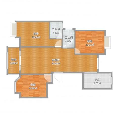 农房・英伦尊邸3室2厅2卫1厨124.00㎡户型图