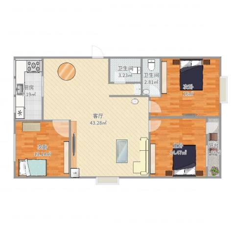 阳光小区3室1厅2卫1厨129.00㎡户型图