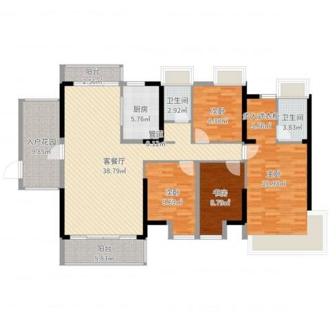 富盈都市华府4室2厅2卫1厨147.00㎡户型图