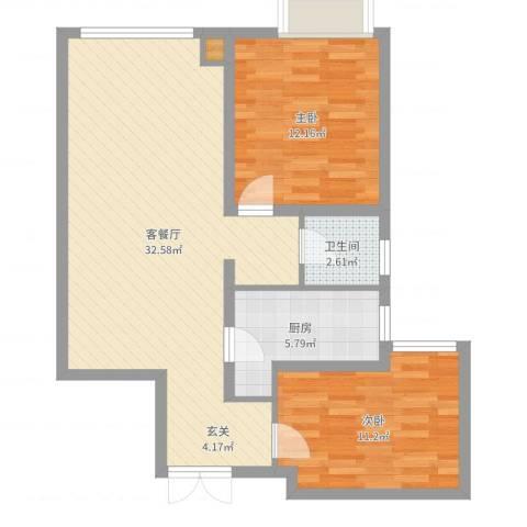 华远海蓝城2室2厅1卫1厨81.00㎡户型图