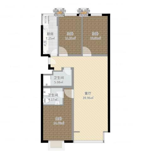 西山枫林3室1厅2卫1厨119.00㎡户型图