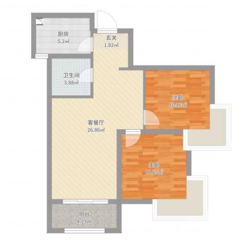 中华世纪城・马上2室2厅1卫1厨77.00㎡户型图