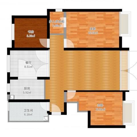 森茂华庭3室1厅1卫1厨115.00㎡户型图