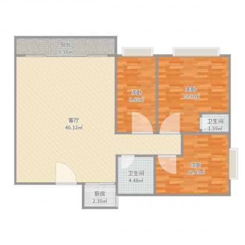 普君新城3室1厅2卫1厨123.00㎡户型图