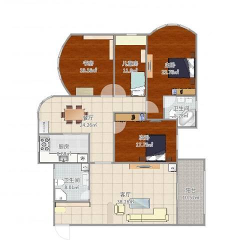 锦园小区4室2厅2卫1厨208.00㎡户型图