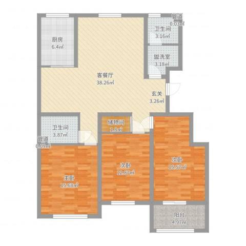 龙溪香岸3室2厅2卫1厨132.00㎡户型图
