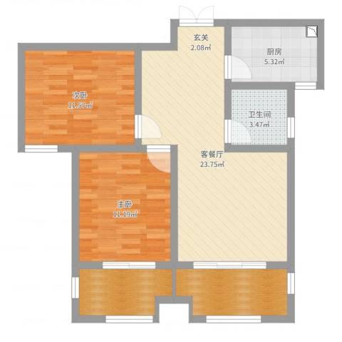 桃苑红杉郡2室2厅1卫1厨82.00㎡户型图