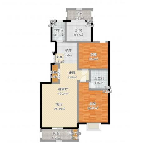 汇名公寓2室2厅2卫1厨136.00㎡户型图
