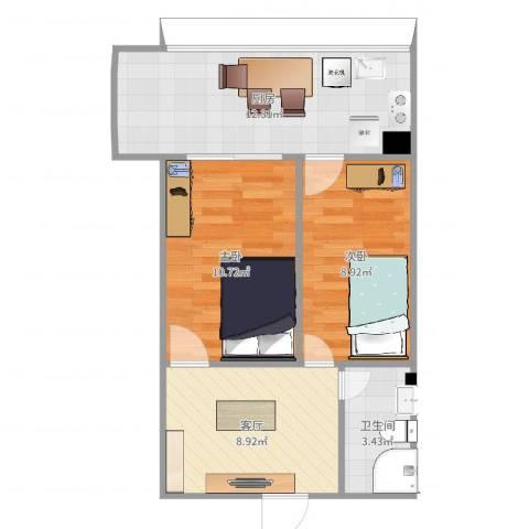 万科兴城2室1厅1卫1厨55.00㎡户型图