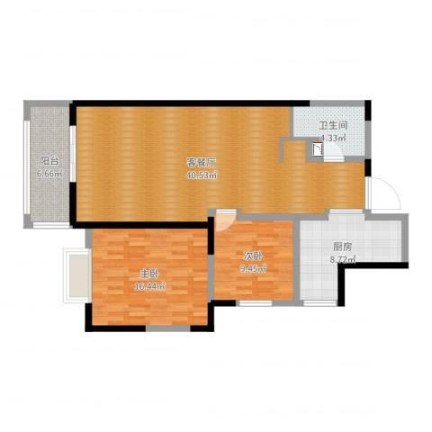 湟家花园2室2厅1卫1厨86.31㎡户型图