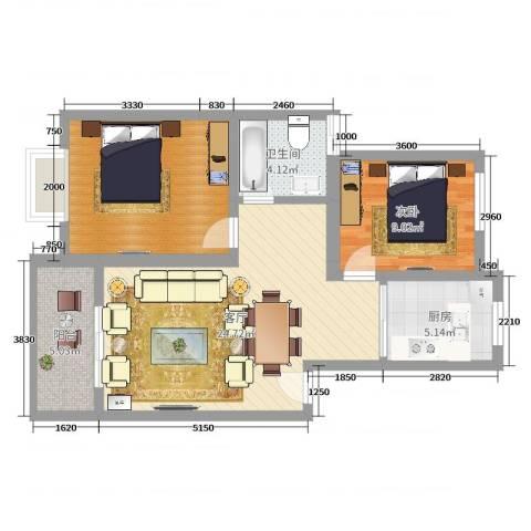 康桥老街165号602室1室1厅1卫1厨76.00㎡户型图