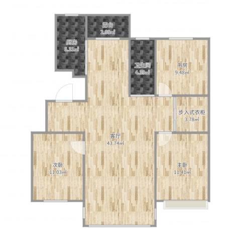 金泰春天3室1厅1卫1厨115.00㎡户型图