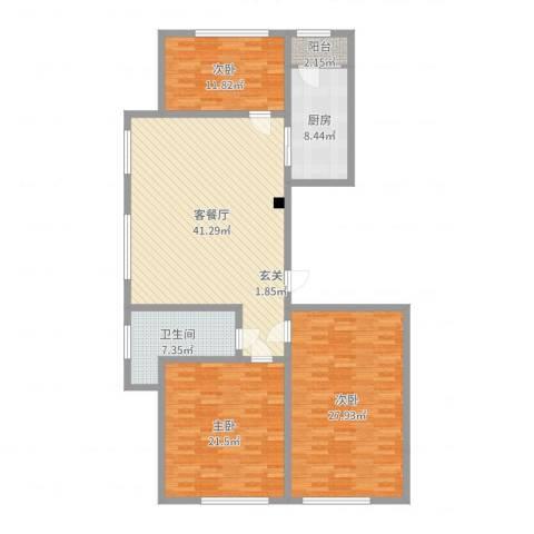 金岭壹品3室2厅1卫1厨151.00㎡户型图