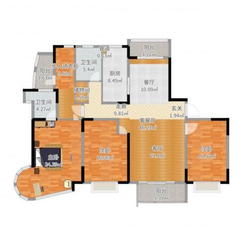 嘉禾现代城3室2厅2卫1厨179.00㎡户型图