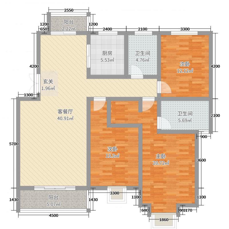 碧龙江畔145.92㎡E户型3室3厅2卫1厨