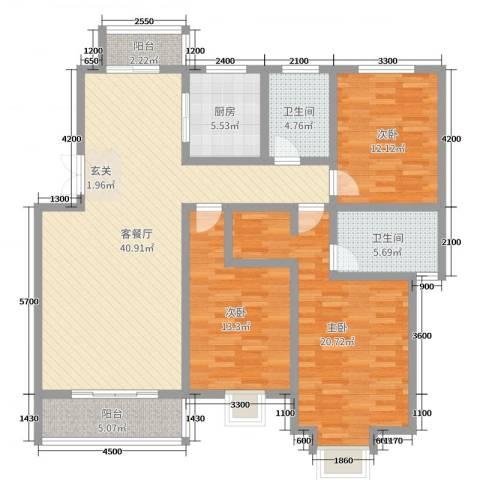 碧龙江畔3室2厅2卫1厨146.00㎡户型图