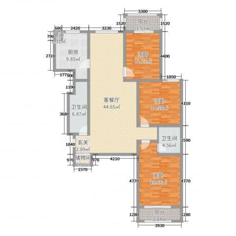 太原文兴苑3室2厅2卫1厨158.00㎡户型图