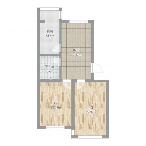 大树花园2室1厅1卫1厨69.00㎡户型图