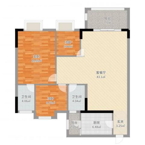 逸湖半岛3室2厅2卫1厨125.00㎡户型图