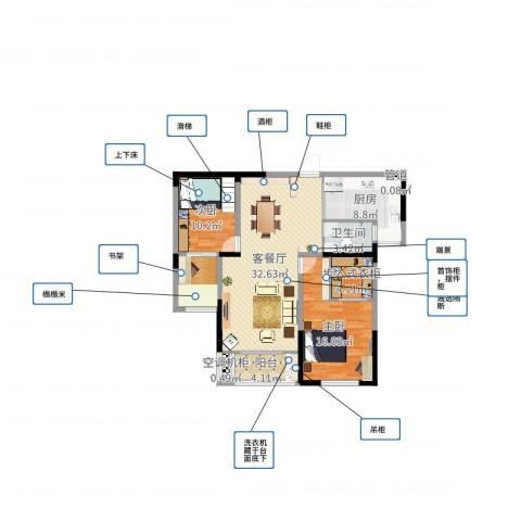 长高圆梦佳苑2室2厅1卫1厨106.00㎡户型图