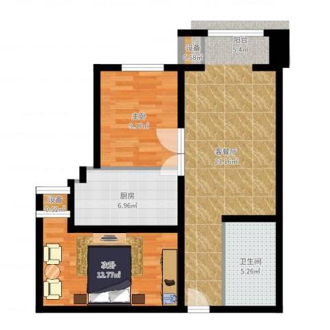 怀特翰墨儒林2室2厅1卫1厨73.00㎡户型图