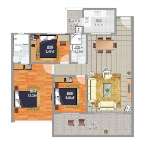 德庆县东海湾1-3013室1厅1卫1厨117.00㎡户型图
