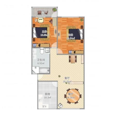宸宇花园2室1厅1卫1厨117.00㎡户型图