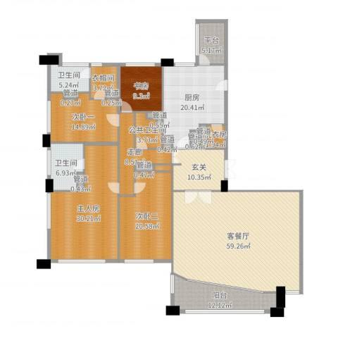 富国高银1室2厅2卫1厨270.00㎡户型图