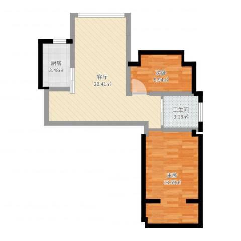 浦江瑞和城2室1厅1卫1厨58.00㎡户型图