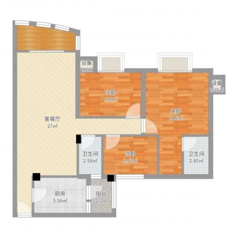 南村南兴花园3室2厅2卫1厨92.00㎡户型图