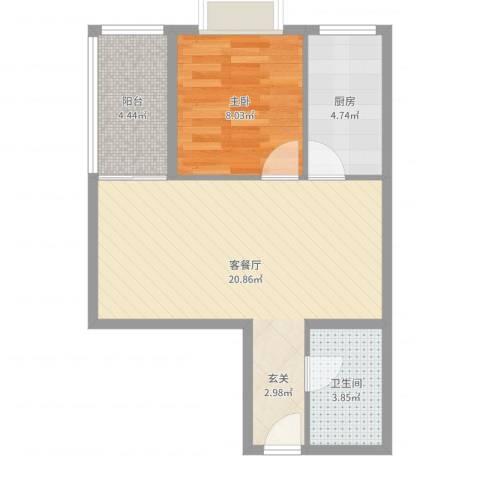 罗宾森广场1室2厅1卫1厨52.00㎡户型图