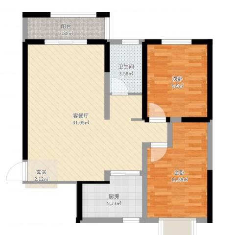 城南都市嘉园二期2室2厅1卫1厨82.00㎡户型图