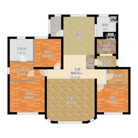 大禹褐石公园3室2厅2卫1厨161.00㎡户型图