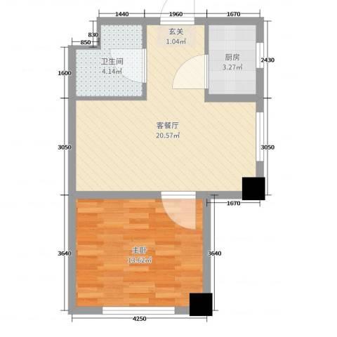 天伦中央广场1室2厅1卫1厨52.00㎡户型图