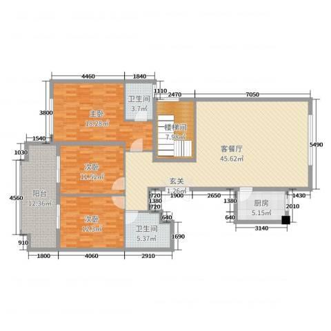 华鸿・温州大公馆3室2厅2卫1厨140.00㎡户型图