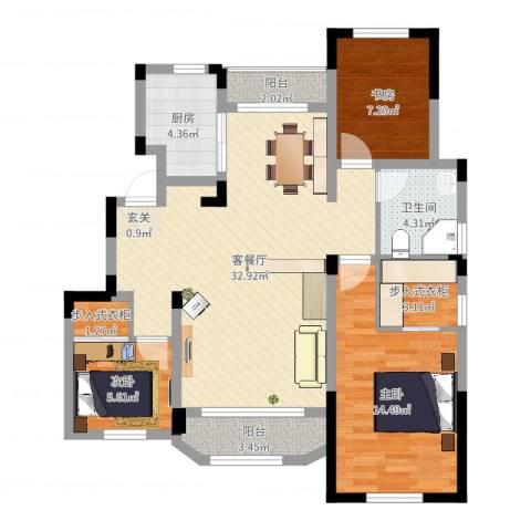 金浦御龙湾3室2厅1卫1厨99.00㎡户型图