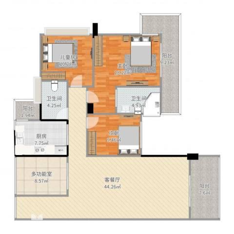 奕翠园3室2厅2卫1厨159.00㎡户型图