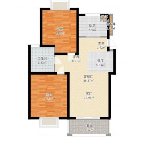 扬州印象花园2室2厅1卫1厨107.00㎡户型图